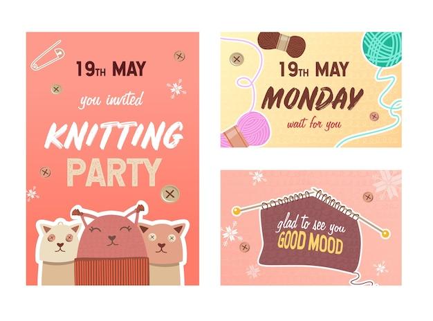Conjunto de tarjetas de invitación de fiesta de tejer. alfileres e hilos, juguetes de punto ilustraciones vectoriales con texto, hora y fecha. concepto de hobby hecho a mano para diseño de folletos y postales.