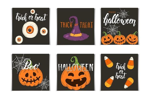 Conjunto de tarjetas de invitación de halloween con letras e iconos dibujados a mano. pumpkin jack, sombrero de bruja, escoba, sombrero, dulces, raíces de caramelo, ataúd, olla con poción en estilo boceto.
