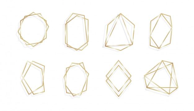 Conjunto de tarjetas de invitación de marco dorado geométrico isolared background line art