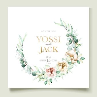 Conjunto de tarjetas de invitación de peonía acuarela y eucalipto