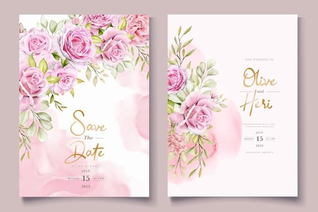 Conjunto de tarjetas de invitación de rosas rosadas acuarela