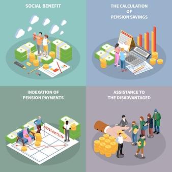 Conjunto de tarjetas isométricas de beneficios de seguridad social