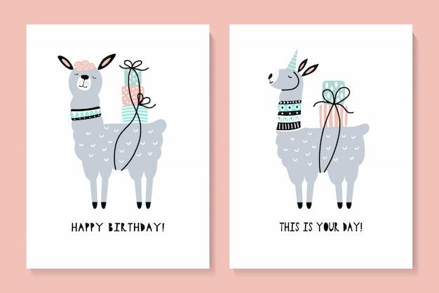 Conjunto de tarjetas con una linda llama. feliz cumpleaños