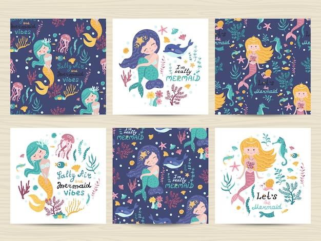 Conjunto de tarjetas con linda sirena