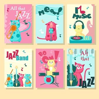 Conjunto de tarjetas con lindos gatos y citas inspiradoras sobre la música.