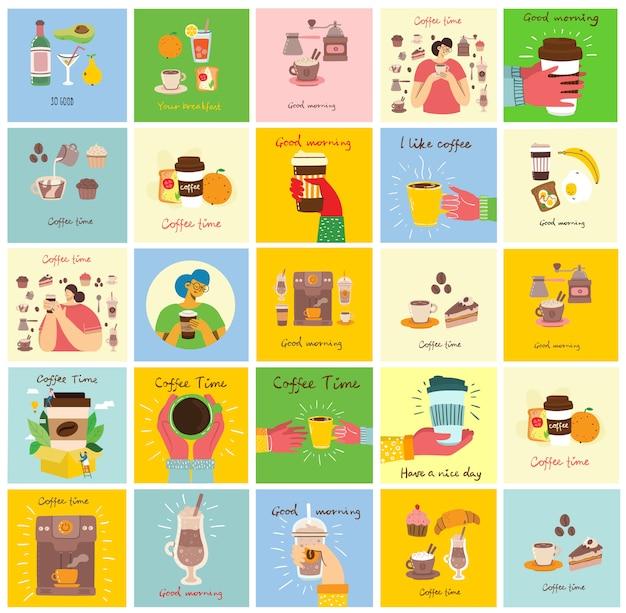Conjunto de tarjetas con las manos sostienen una taza de café negro oscuro caliente o bebida, con comida de desayuno, texto escrito a mano, simple ilustración colorida plana.