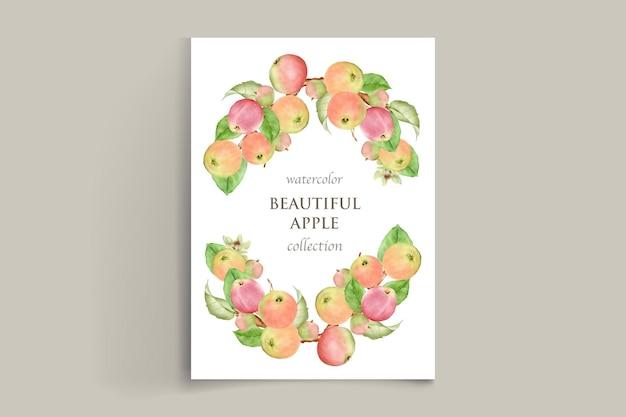 Conjunto de tarjetas de manzana dibujadas a mano acuarela