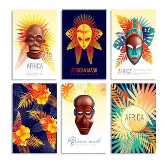 Conjunto de tarjetas de máscara africana