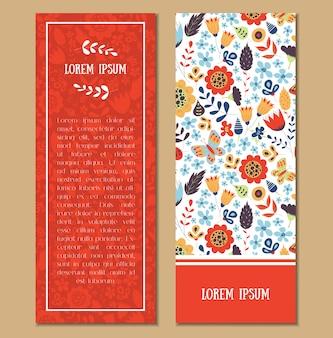 Conjunto de tarjetas con motivos florales