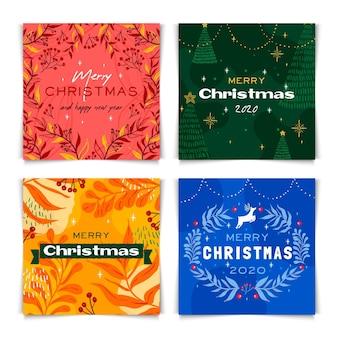 Conjunto de tarjetas de navidad coloridas dibujadas a mano