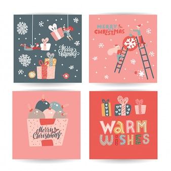 Conjunto de tarjetas de navidad doodle lindo dibujado a mano