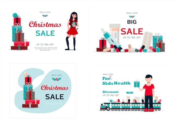 Conjunto de tarjetas de navidad ilustración vectorial de una gran chimenea acogedora venta de navidad con libros en el fondo ...