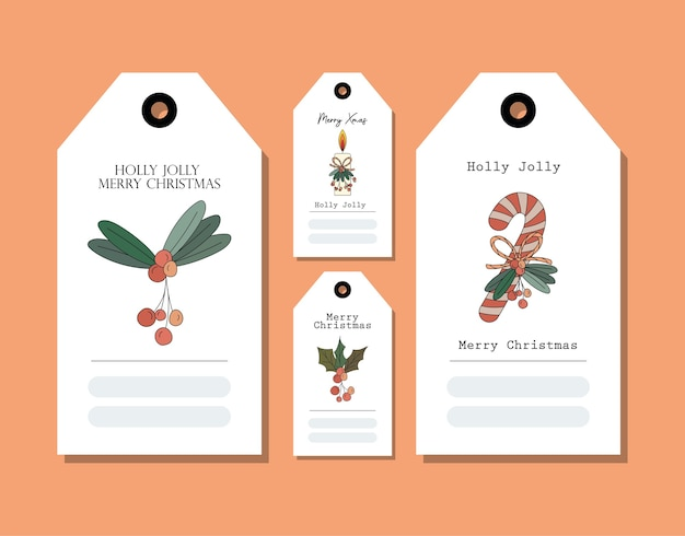 Conjunto de tarjetas de navidad en naranja, diseño de ilustraciones