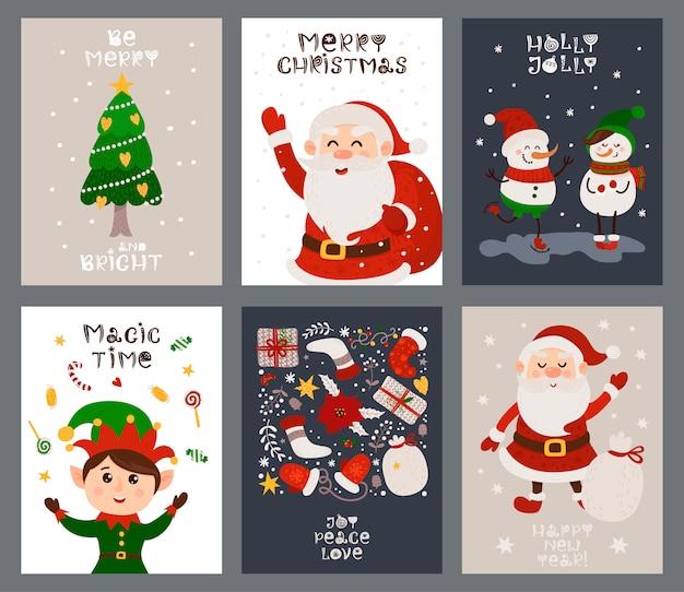 Conjunto de tarjetas de navidad con santa, duende y árbol de navidad.