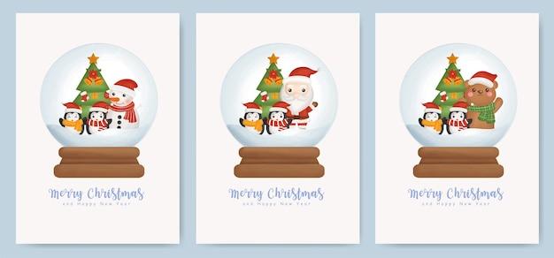 Conjunto de tarjetas de navidad y tarjetas de felicitación de año nuevo con lindo santa claus y elementos navideños en un globo de bola de nieve.