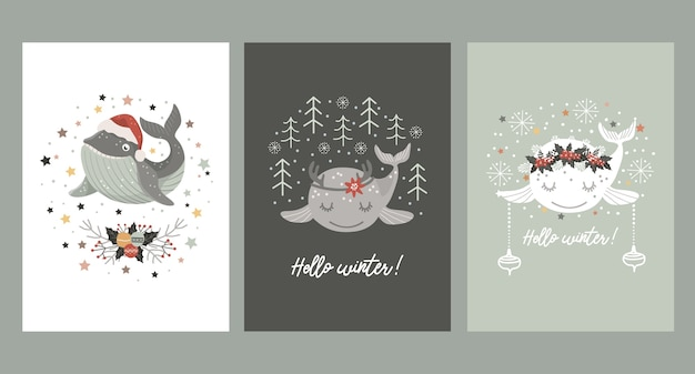Conjunto de tarjetas navideñas con ballena bebé con gorro de santa, en corona de ramo de invierno y con astas de ciervo.