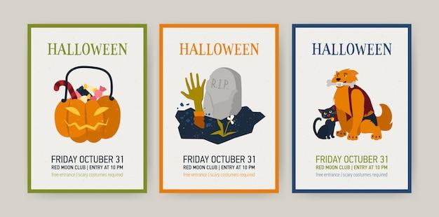 Conjunto de tarjetas navideñas verticales o plantillas de invitación con personajes de halloween