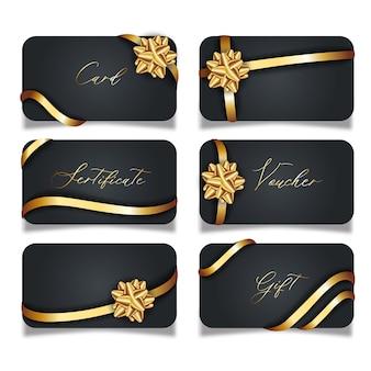 Conjunto de tarjetas negras de lujo con arcos de regalo dorados con cintas