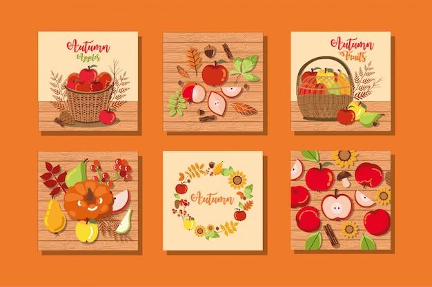 Conjunto de tarjetas de otoño con decoración.