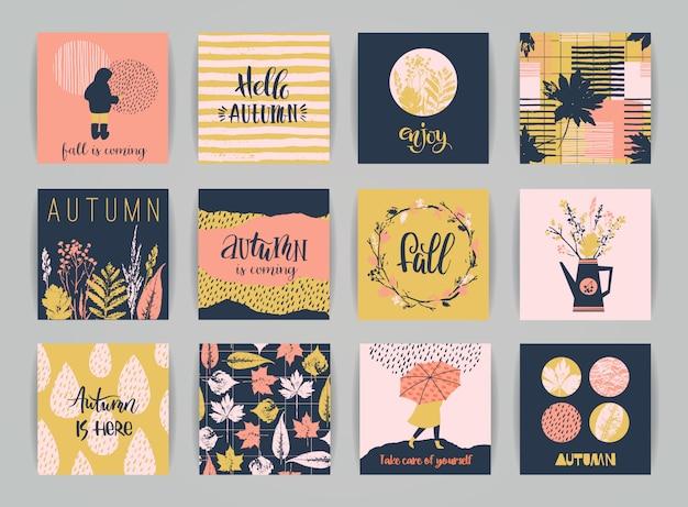 Conjunto de tarjetas de otoño.