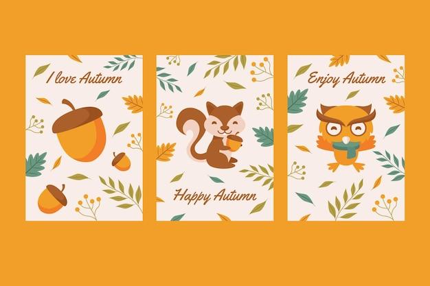 Conjunto de tarjetas de otoño