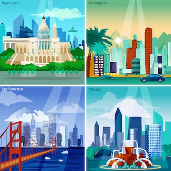 Conjunto de tarjetas de paisajes urbanos americanos