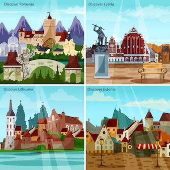 Conjunto de tarjetas de paisajes urbanos europeos