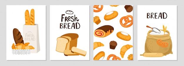 Conjunto de tarjetas de pan fresco