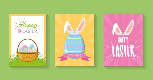 Conjunto de tarjetas de pascua de belleza, tarjeta de pascua feliz