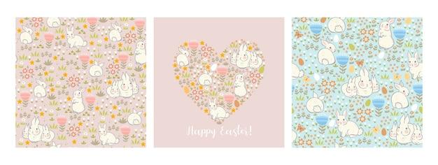 Conjunto de tarjetas de pascua y patrones con conejitos y flora primaveral.