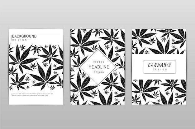 Conjunto de tarjetas con patrón de hojas de marihuana para etiqueta