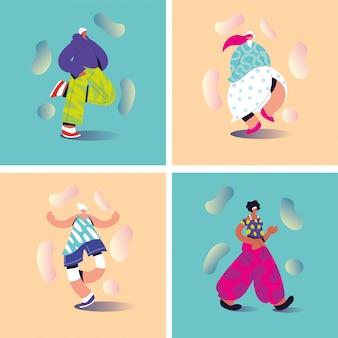 Conjunto de tarjetas con personas de pie en diferentes poses