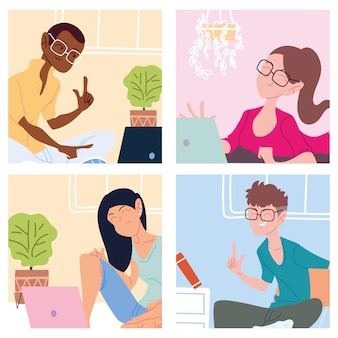Conjunto de tarjetas con personas que trabajan desde casa, ilustración de teletrabajo