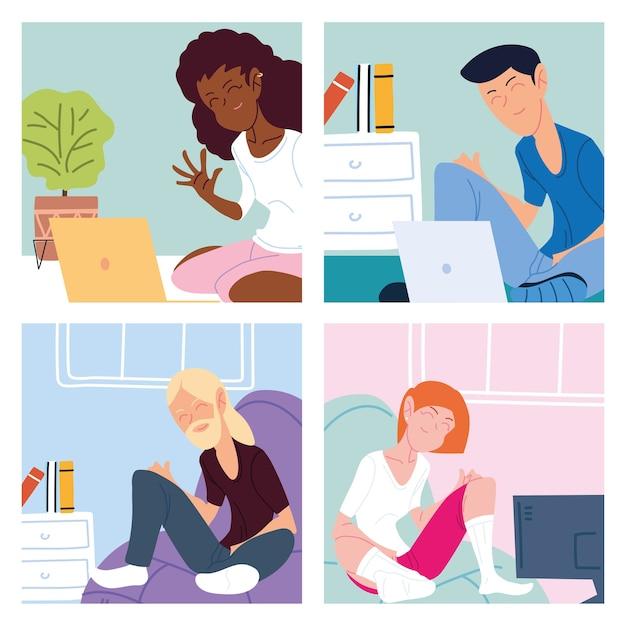 Conjunto de tarjetas con personas que trabajan desde casa ilustración
