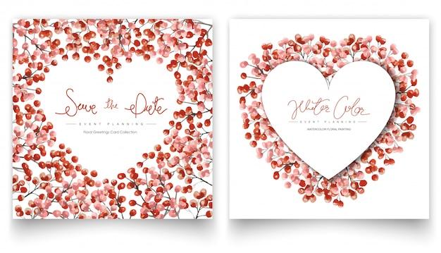 Conjunto de tarjetas de pintura de acuarela floral rojo.