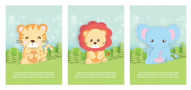 Conjunto de tarjetas de plantilla de animales de zoológico con tigre, león y elefante en estilo de tarjeta de papel para tarjeta de cumpleaños