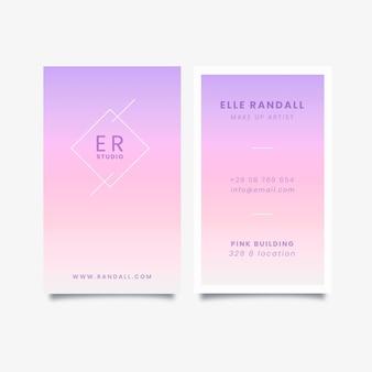 Conjunto de tarjetas de presentación vertical degradado pastel