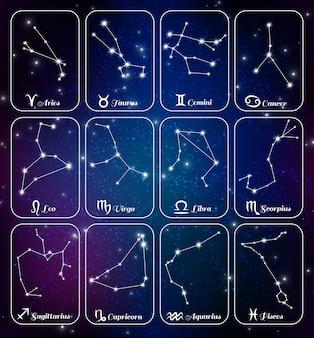 Conjunto de tarjetas realistas de constelaciones del zodiaco