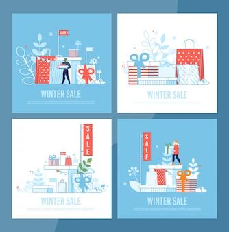 Conjunto de tarjetas de rebajas de invierno