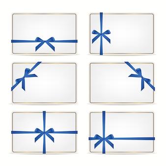 Conjunto de tarjetas de regalo con cintas.
