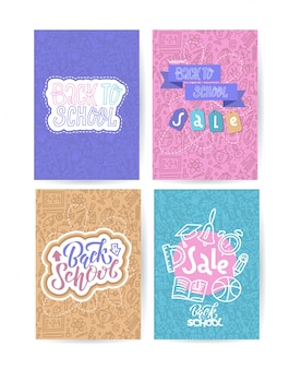 Conjunto de tarjetas de regreso a la escuela con emblemas de colores en diferentes fondos que consiste en útiles escolares