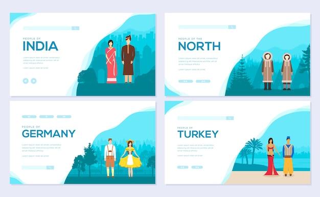 Conjunto de tarjetas de ropa tradicional de diferentes nacionalidades. plantilla de invitación de flyear, ingrese al sitio.