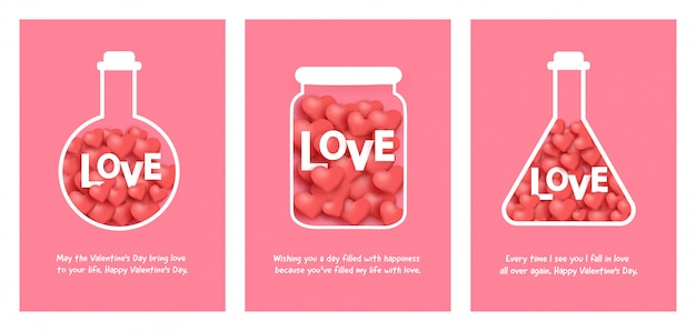 Conjunto de tarjetas de san valentín con amor en un frasco.