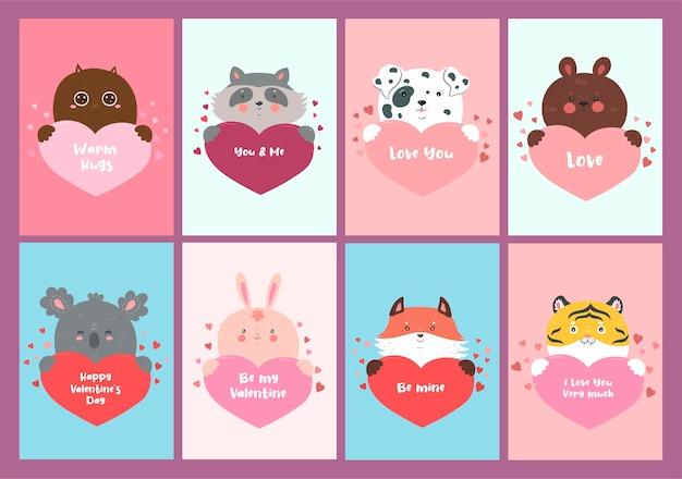 Conjunto de tarjetas de san valentín con animales y corazones.