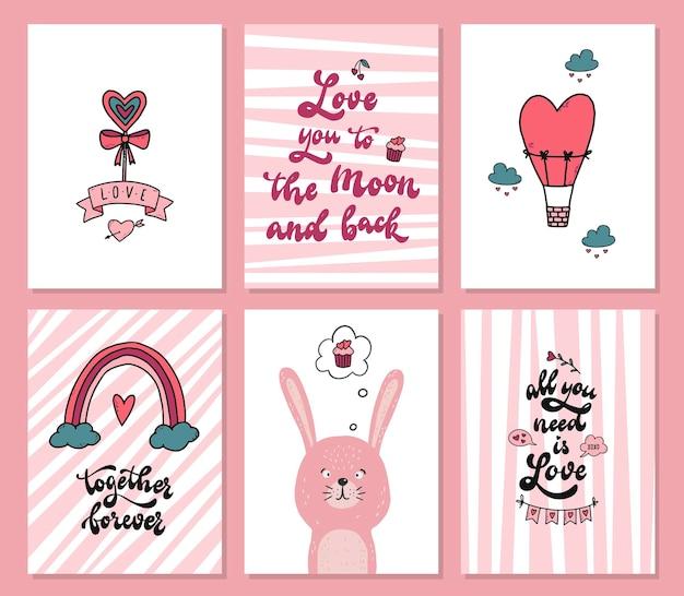 Conjunto de tarjetas de san valentín