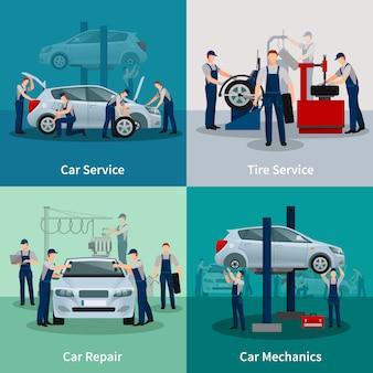 Conjunto de tarjetas de servicios de reparación de automóviles.