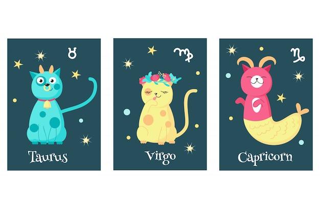 Conjunto de tarjetas de signo zodiacal de astrología de gato