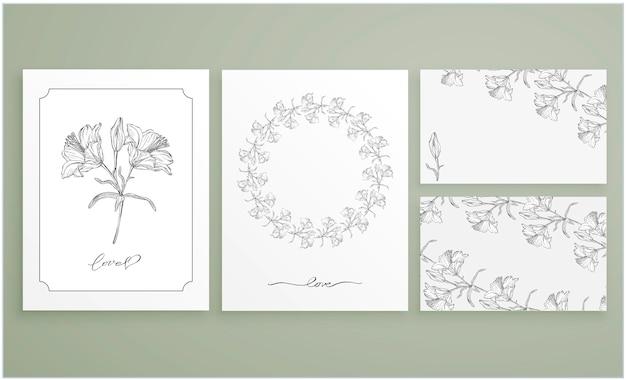 Conjunto de tarjetas y tarjetas de visita con arreglos florales gráficos.
