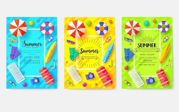 Conjunto de tarjetas de tiempo de vecetion de verano. plantilla de ecología de flyear, revistas, carteles, portadas de libros, pancartas.