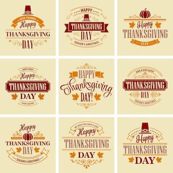 Conjunto de tarjetas tipográficas de acción de gracias
